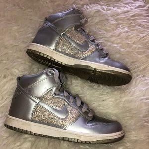 Nike High Top Shoes Silver Glitter Size 8 EUC